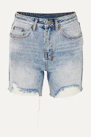 Racer distressed denim shorts