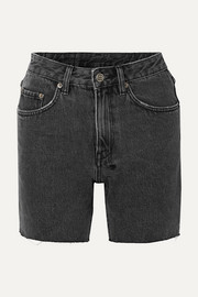 Racer frayed denim shorts