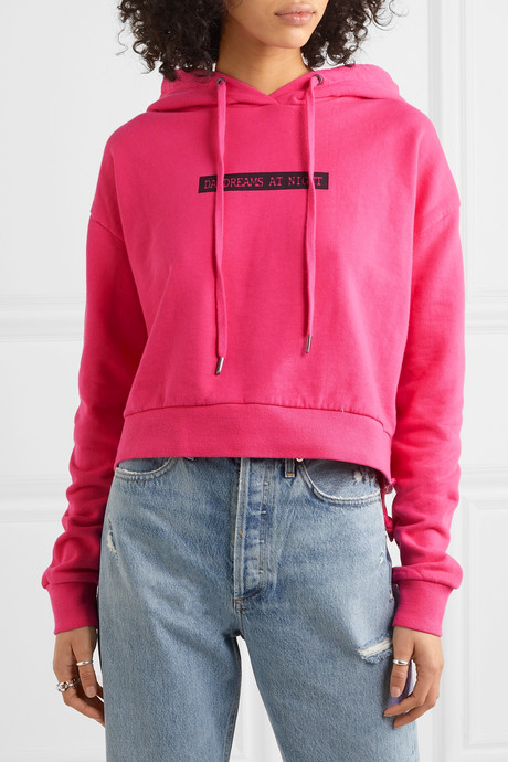 Day Dreams cropped printed cotton-jersey hoodie
