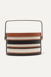Trunk striped leather and raffia tote