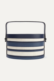 Hunting Season Trunk striped leather and raffia tote