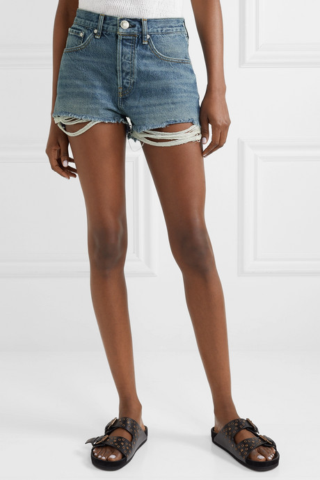 Maya distressed denim shorts