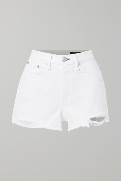 Rag & Bone Nina High-rise Distressed Denim Shorts In White