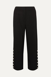 Tia button-embellished cropped twill straight-leg pants