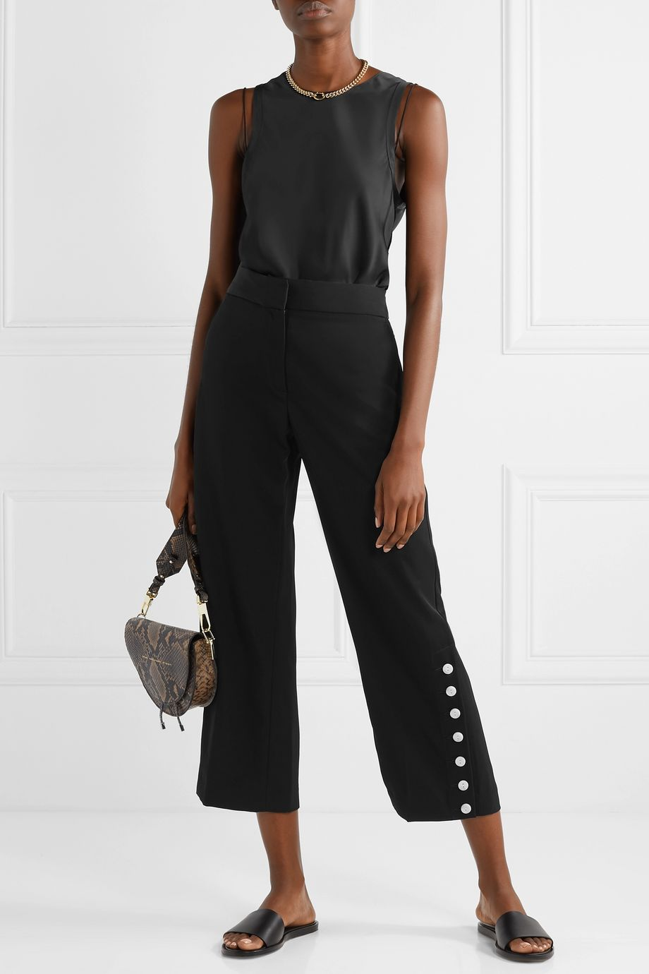 rag & bone Tia button-embellished cropped twill straight-leg pants