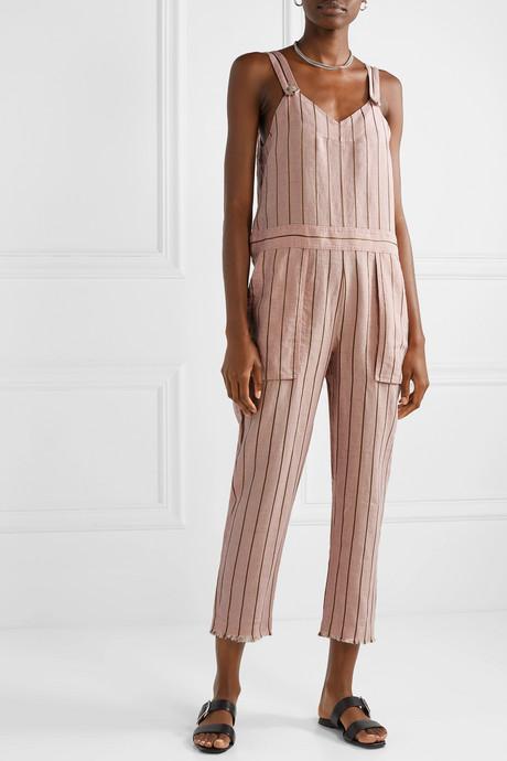 Nina striped linen-blend jumpsuit