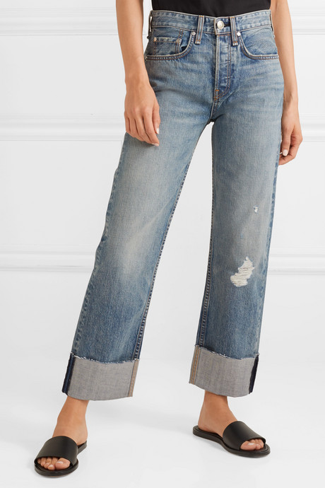 Maya distressed cropped high-rise straight-leg jeans
