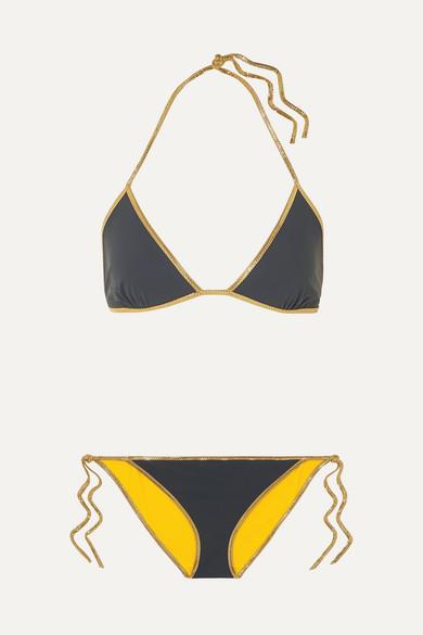 Bikini Triangle Réversible À Finitions En Lurex Hampton