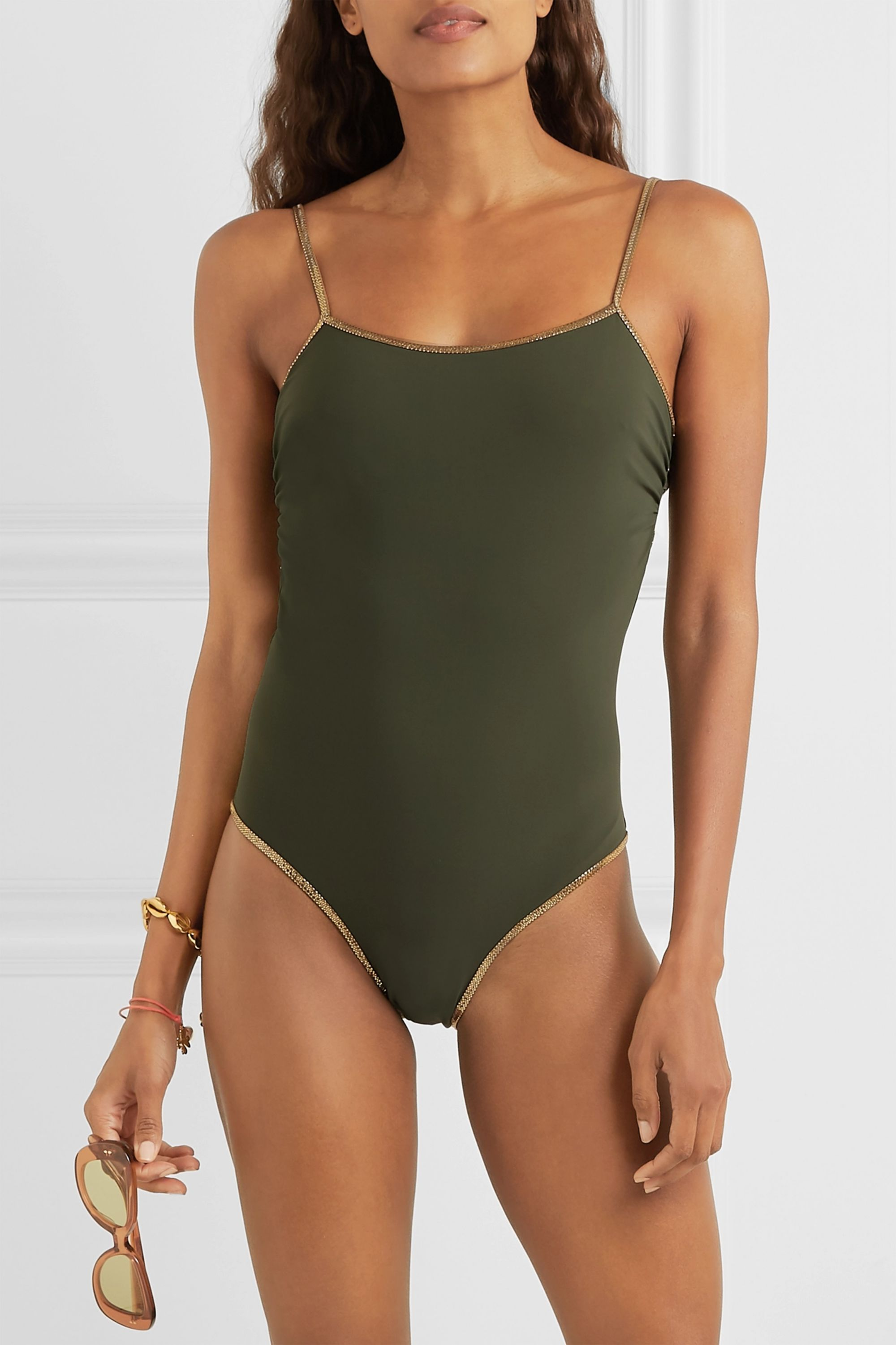 Tooshie Reversible Lurex-trimmed swimsuit