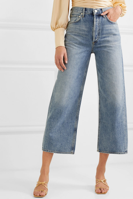 Ren cropped high-rise wide-leg jeans