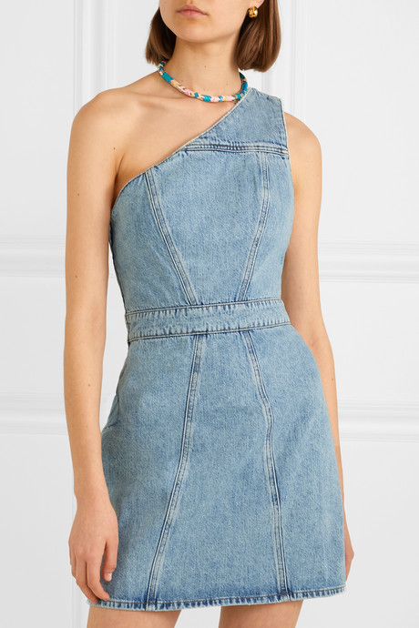 Annex one-shoulder denim mini dress