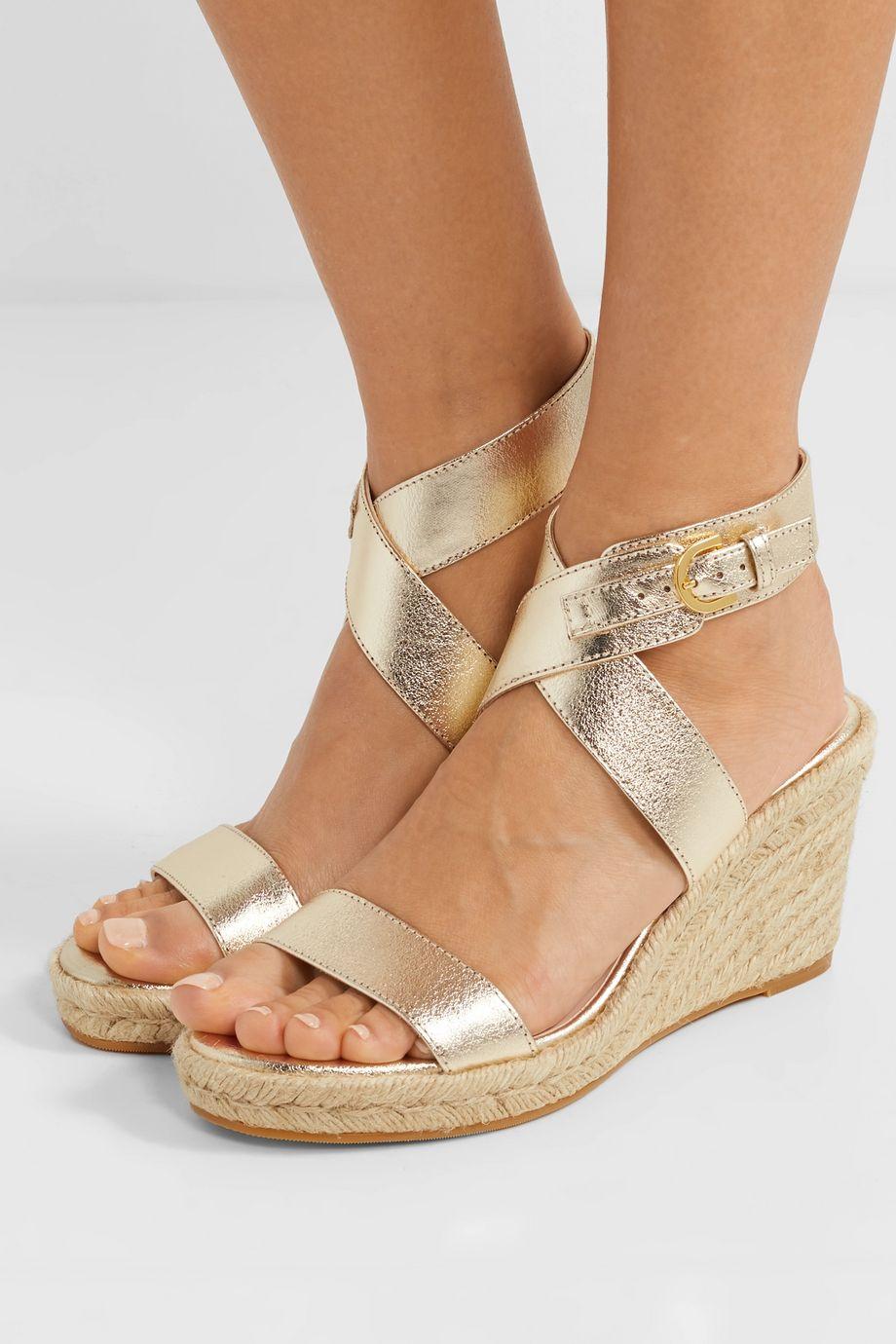 Stuart Weitzman Lexia metallic textured-leather espadrille wedge sandals