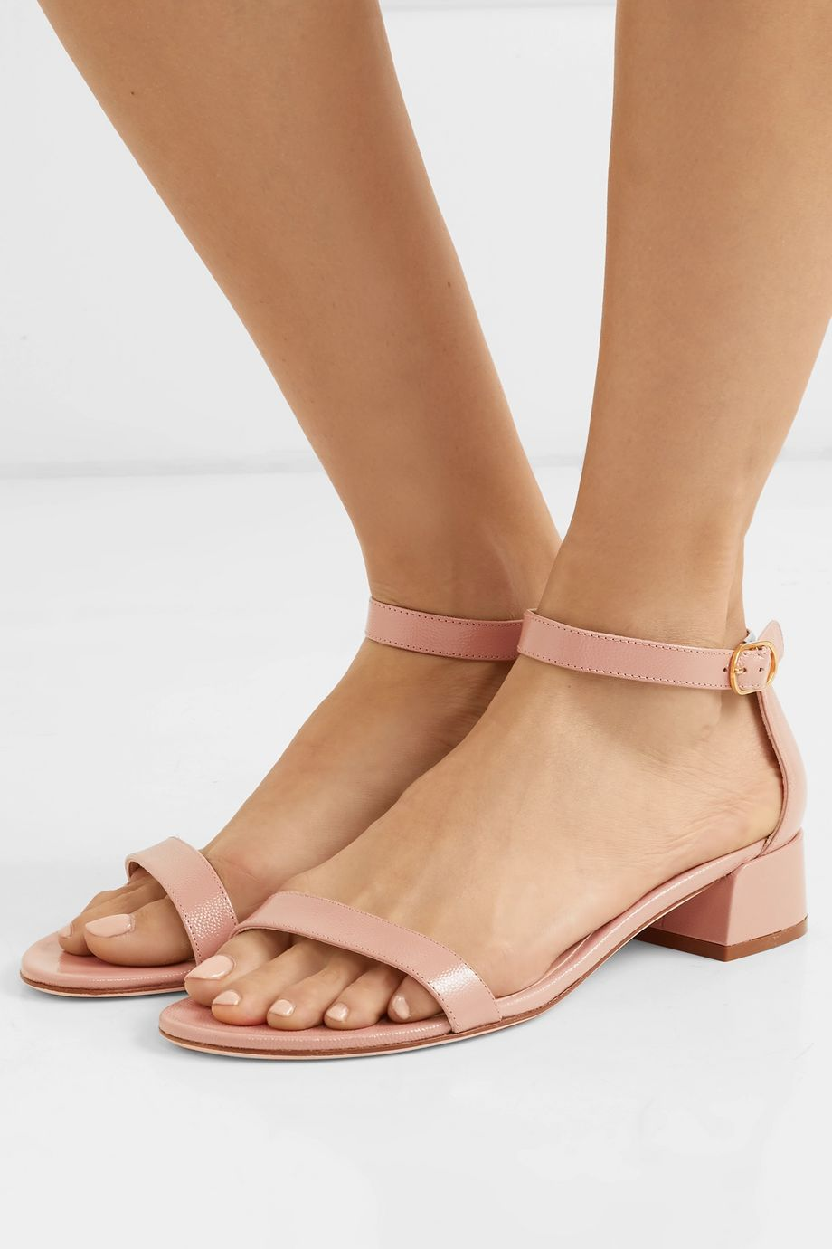 Stuart Weitzman NudistJune patent textured-leather sandals