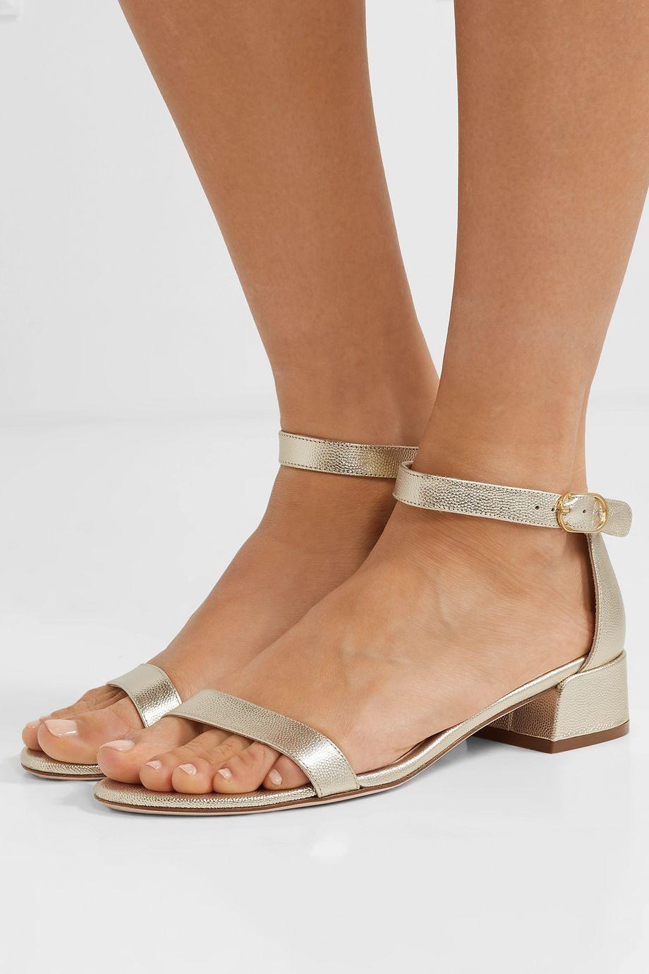 Stuart Weitzman NudistJune metallic textured-leather sandals