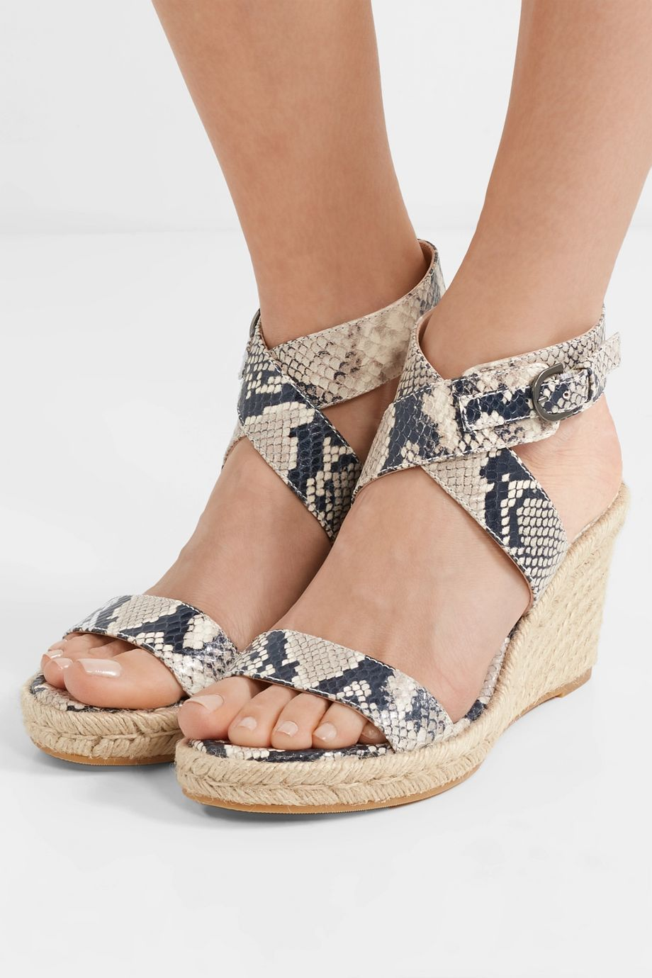 Stuart Weitzman Lexia snake-effect leather espadrille wedge sandals
