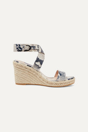 Stuart Weitzman Lexia snake-effect leather espadrille wedge sandals