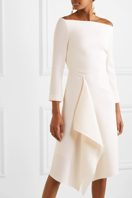 Clover off-the-shoulder draped wool-crepe dress