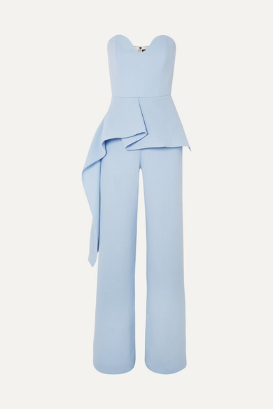 Strapless Draped Wool Crepe Jumpsuit by Roland Mouret