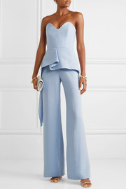 Strapless draped wool-crepe jumpsuit