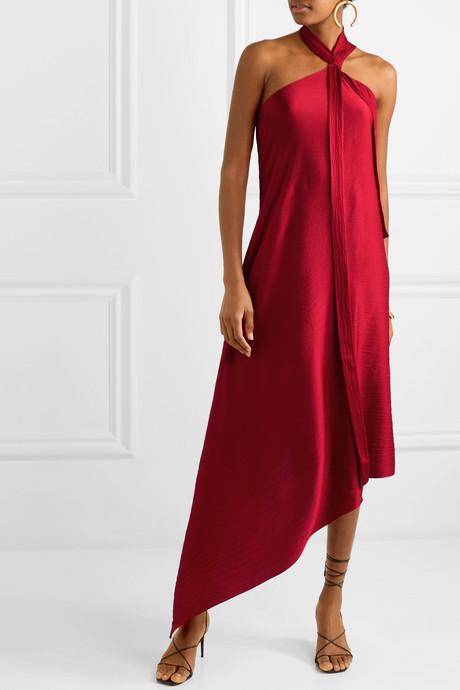 Copernicus draped hammered silk-satin dress