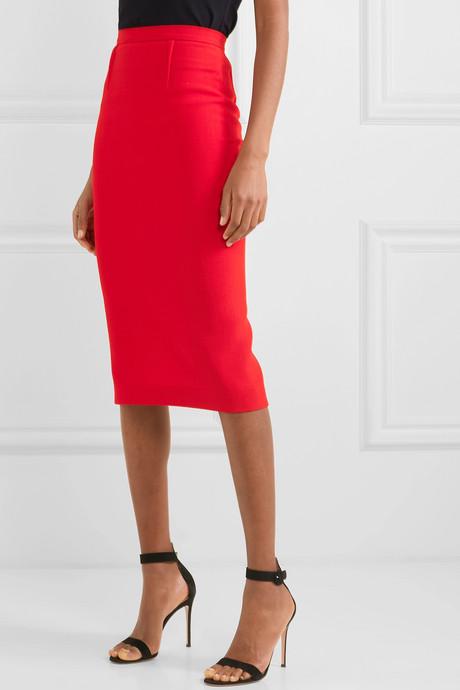 Arreton wool-crepe skirt