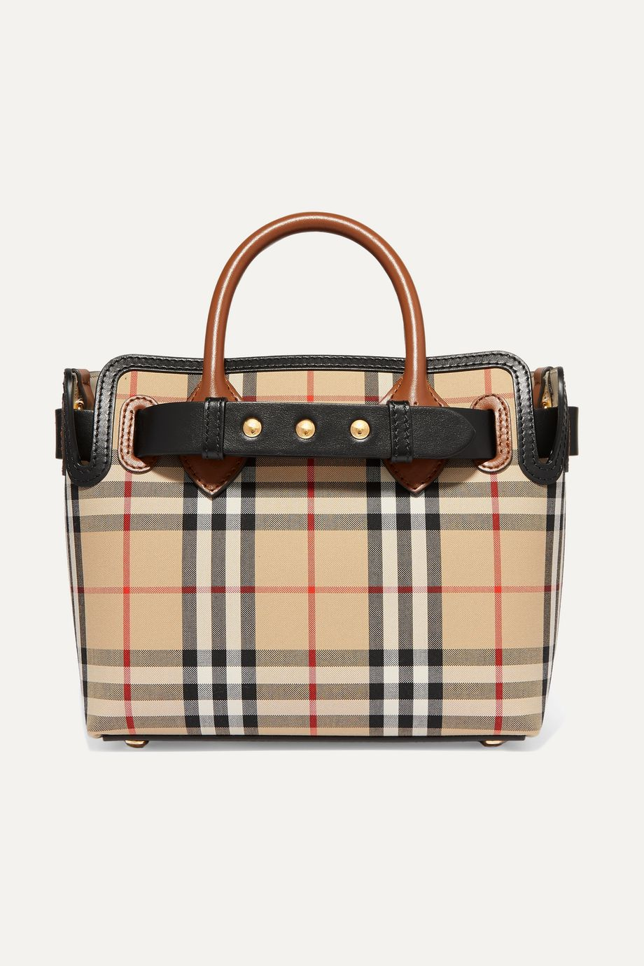Burberry Leather-trimmed checked coated-canvas tote