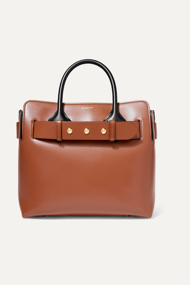 Small belted leather tote