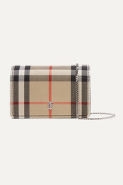 Checked canvas and leather shoulder bag