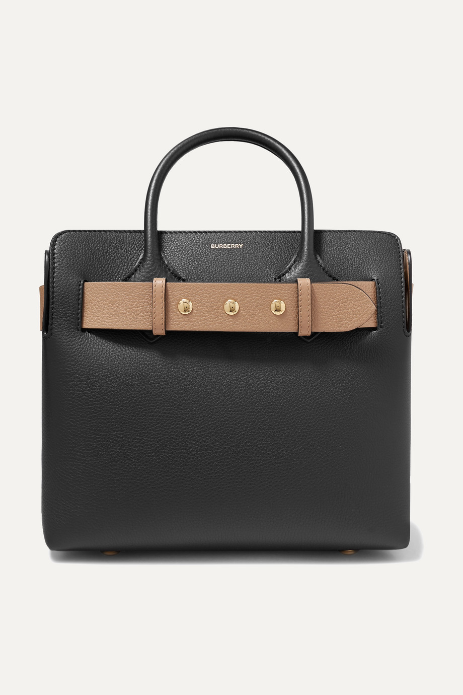Burberry Small belted textured-leather tote