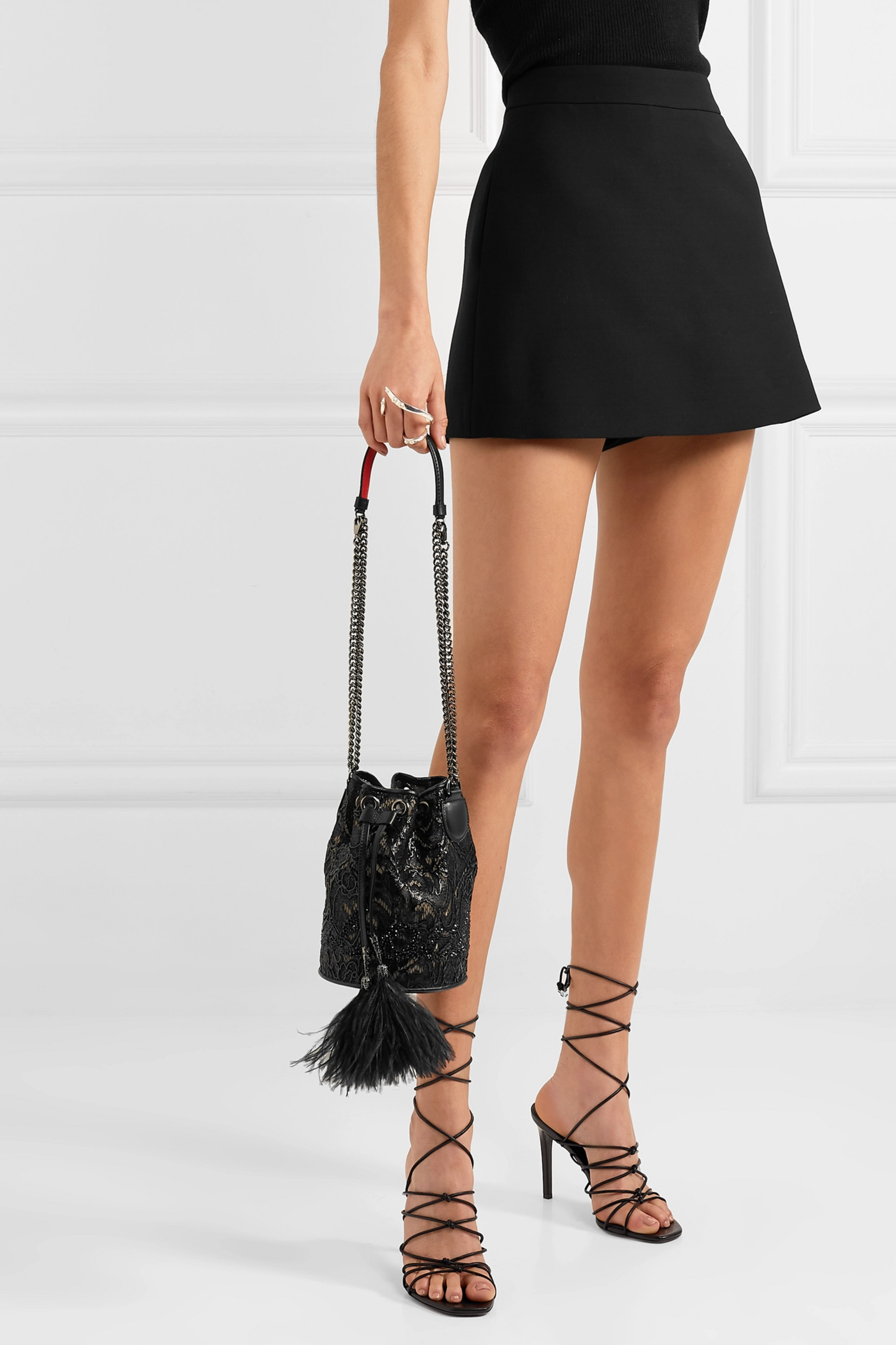 Christian Louboutin Marie Jane feather and leather-trimmed crystal-embellished lace bucket bag