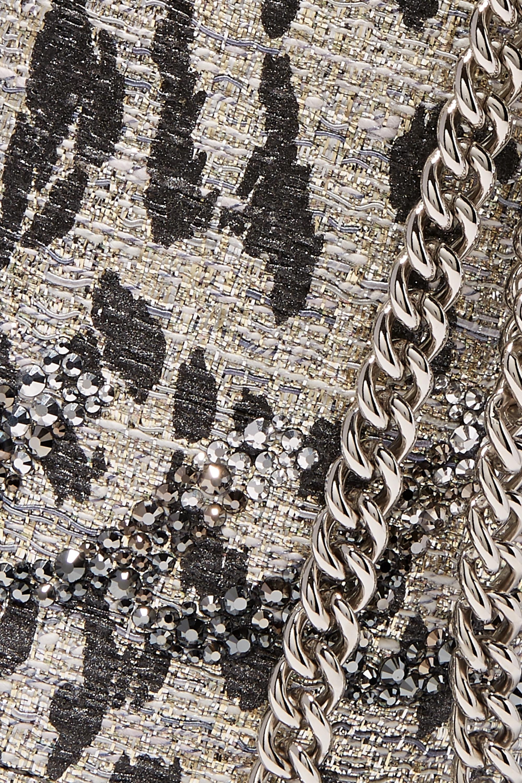Christian Louboutin Marie Jane leather-trimmed crystal-embellished metallic tweed bucket bag