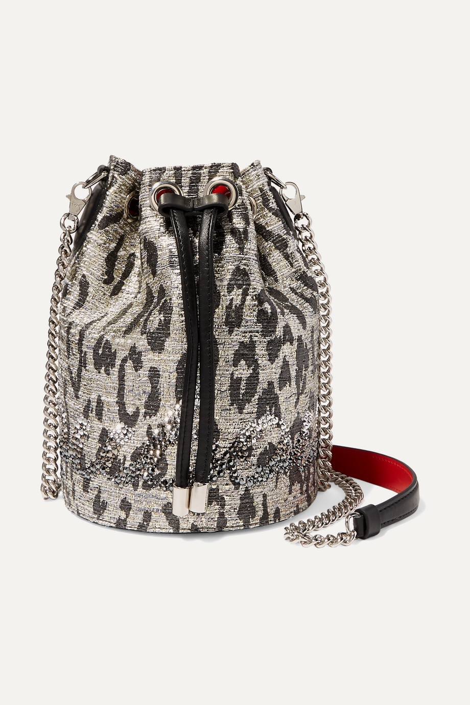 Christian Louboutin Marie Jane leather-trimmed crystal-embellished metallic tweed bucket bag