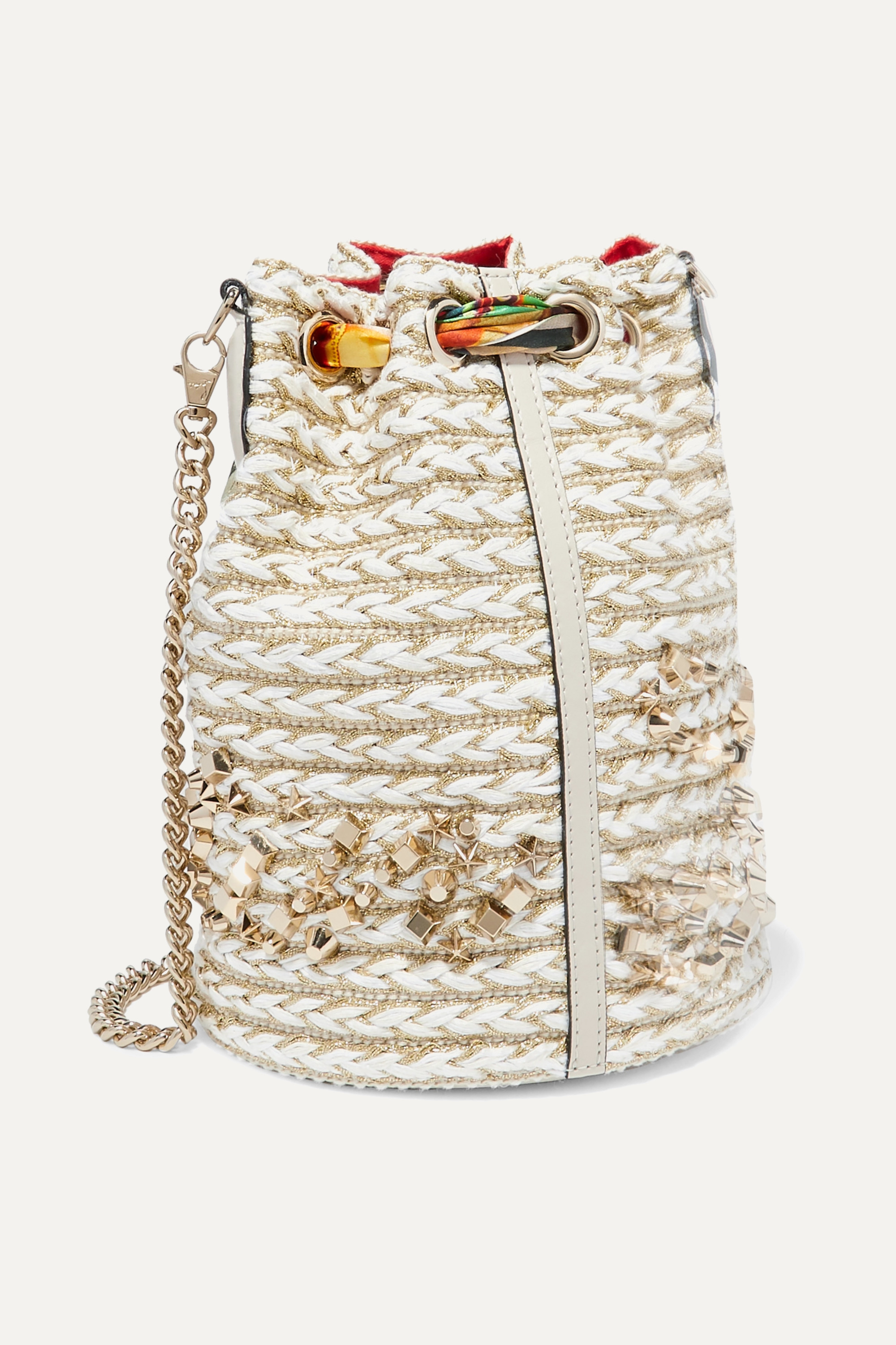 Christian Louboutin Marie Jane printed silk-trimmed woven bucket bag
