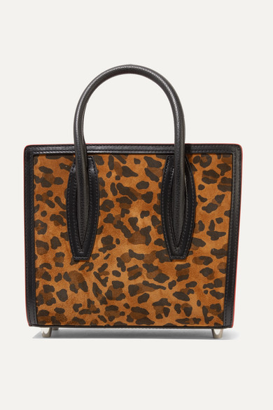CHRISTIAN LOUBOUTIN | Christian Louboutin - Paloma Mini Leopard-Print Suede, Leather And Canvas And Tote - Leopard Print | Goxip