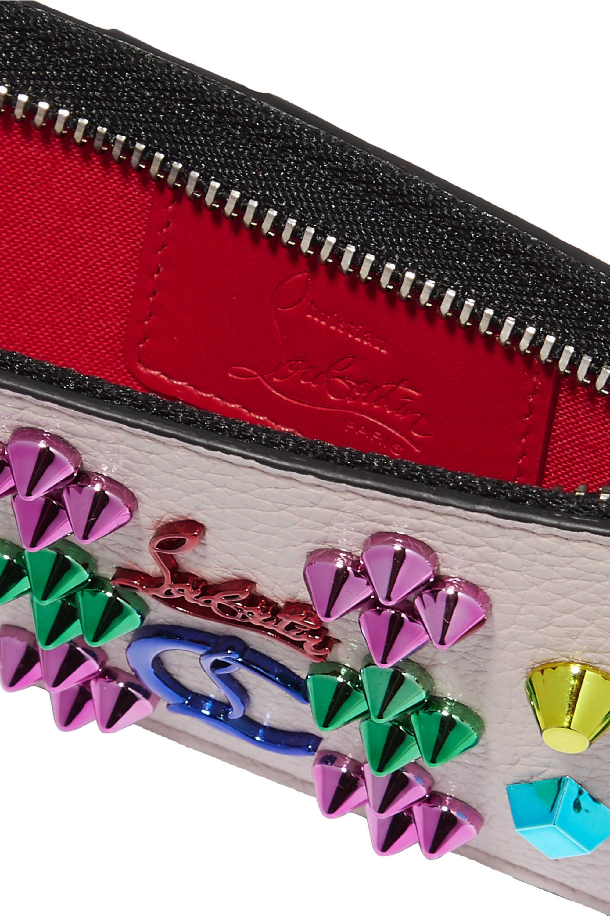 Christian Louboutin Credilou spiked textured-leather wallet