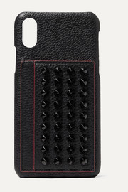 Loubiphone spiked textured-leather iPhone X and XS case