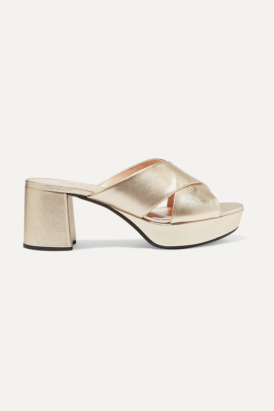Prada 80 metallic textured-leather platform mules