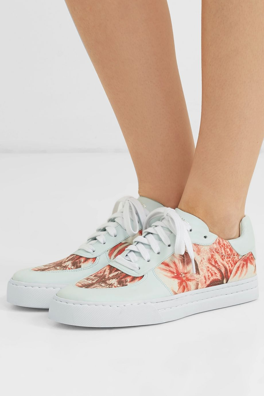 Zimmermann Leather-trimmed printed linen sneakers