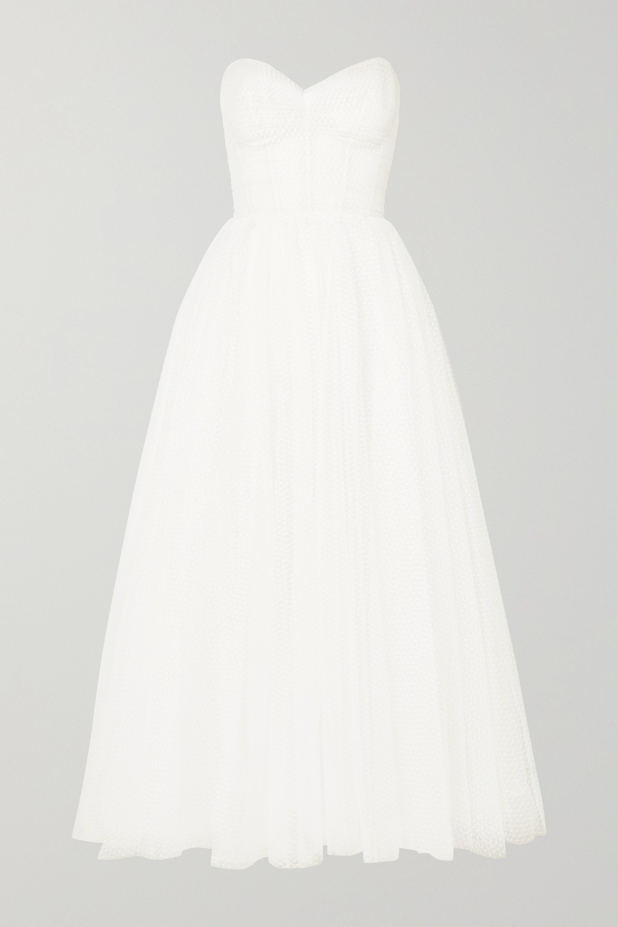 Monique Lhuillier Brie strapless ruched Swiss-dot tulle gown
