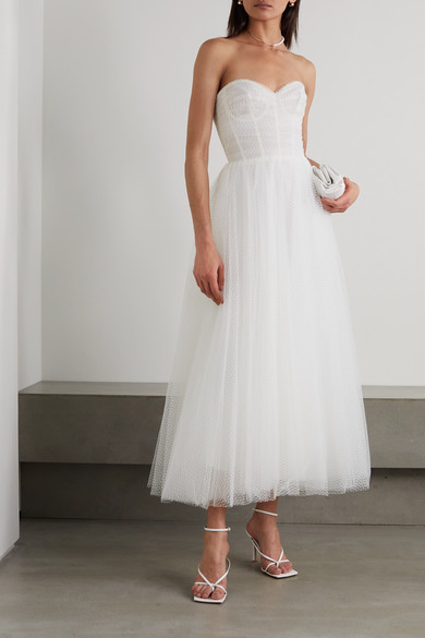 316a5de7db5df Monique Lhuillier | Brie strapless ruched Swiss-dot tulle gown | NET ...