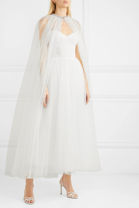 Brie crystal-embellished Swiss-dot tulle cape