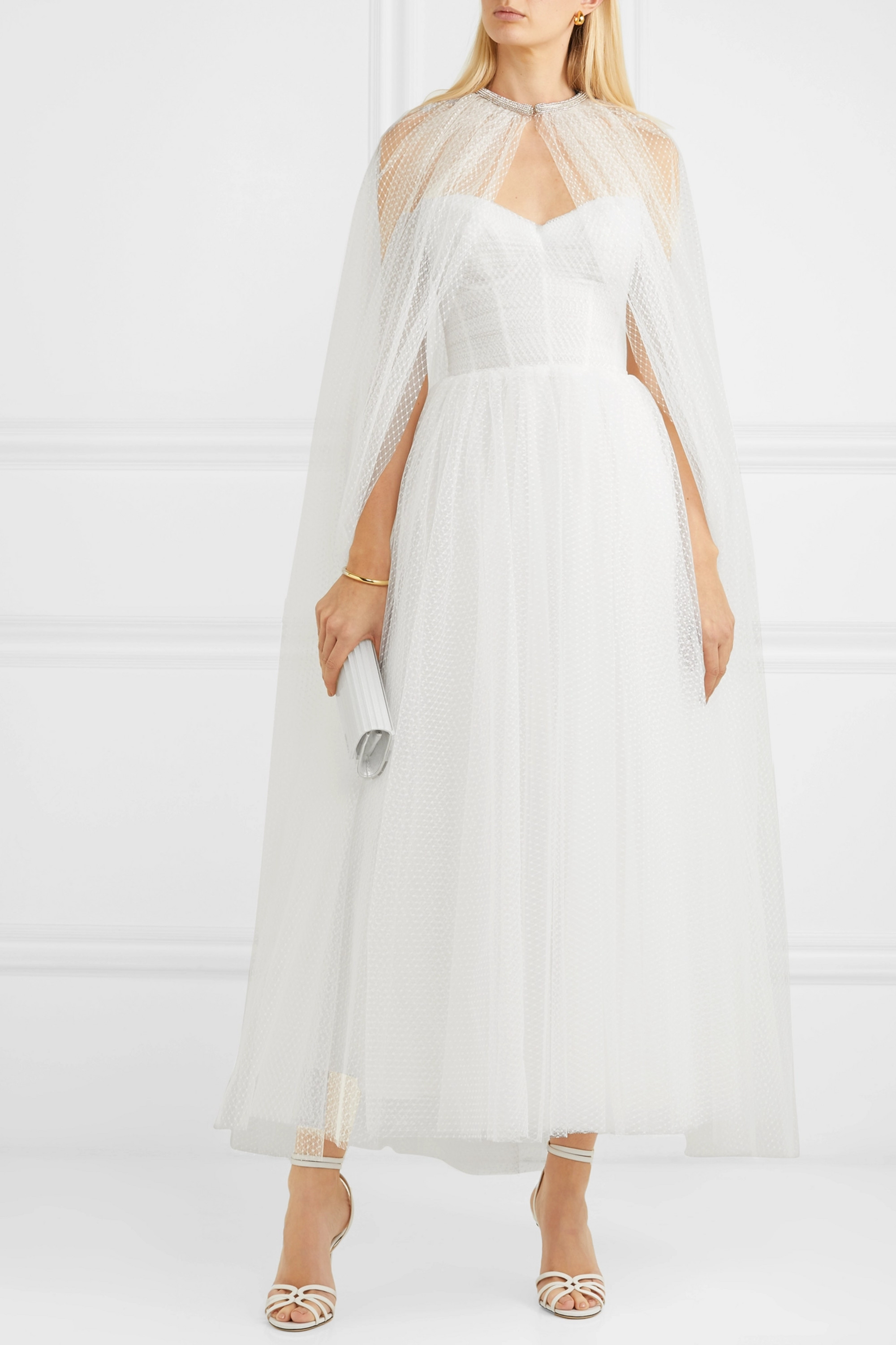 Monique Lhuillier Brie crystal-embellished Swiss-dot tulle cape