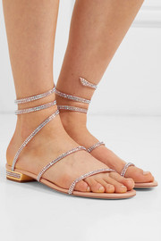 Cleo crystal-embellished metallic leather sandals