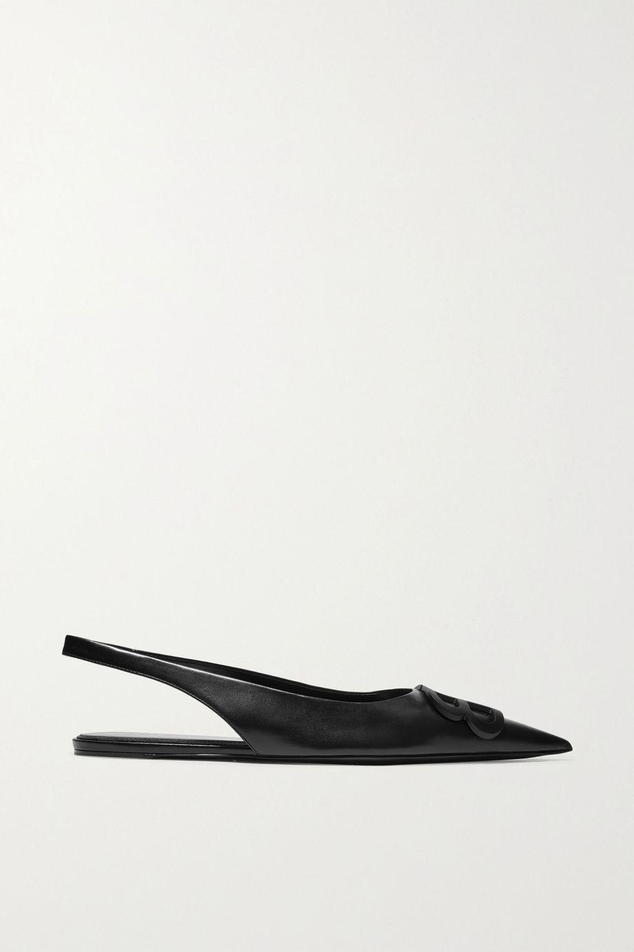Balenciaga Knife logo-embellished leather point-toe flats