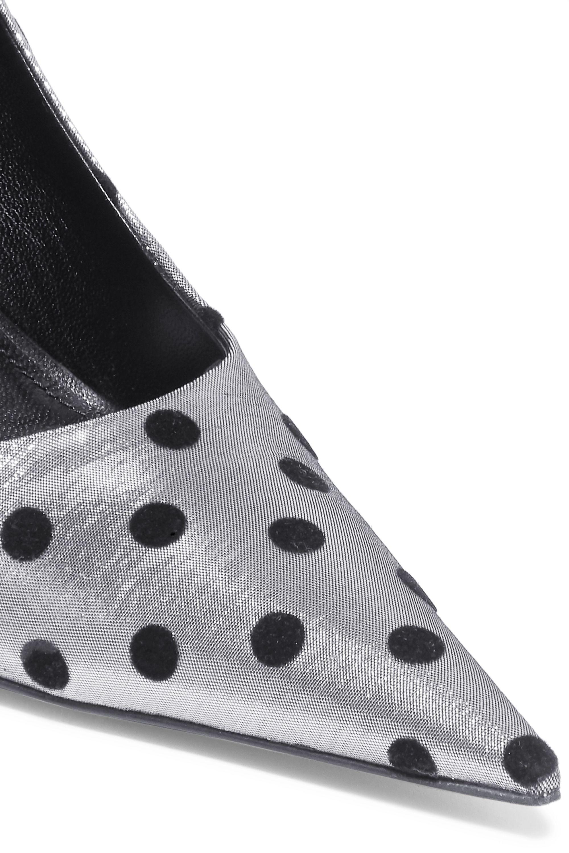 Balenciaga Square Knife polka-dot flocked lamé pumps