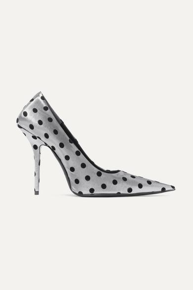 BALENCIAGA | Balenciaga - Square Knife Polka-dot Flocked Lamé Pumps - Silver | Goxip