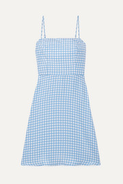 Nora gingham silk crepe de chine mini dress