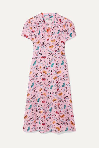 c80c1132c8ca71 HVN | Morgan bedrucktes Kleid aus Crêpe de Chine aus Seide |  NET-A-PORTER.COM