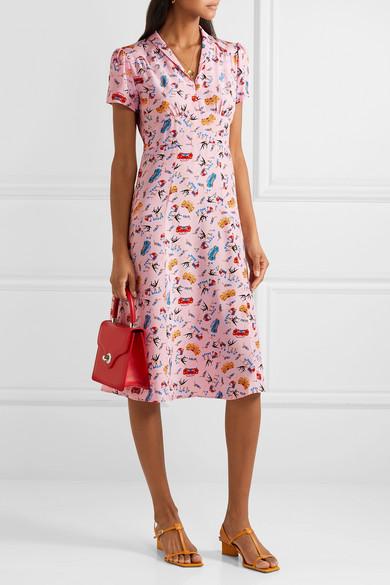 78118b9a01ebba HVN | Morgan bedrucktes Kleid aus Crêpe de Chine aus Seide | NET-A ...