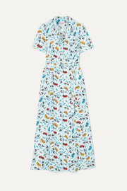 Long Maria printed silk crepe de chine dress